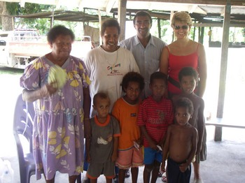Worawia guests with locals