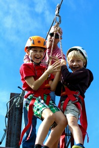 Kids having fun on zip line