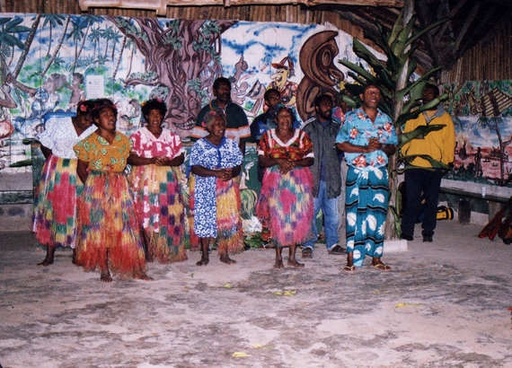 Melanesian people in their costumes at the Feast Night