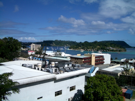 A panoramic view of inner Port Vila from a hillside