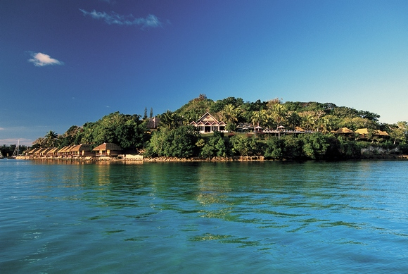Iririki Island Resort in Port Vila harbour